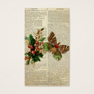 Butterfly floral art on vintage dictionary page business card