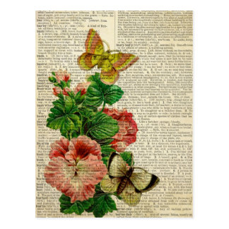 Butterfly floral art on vintage dictionary page postcard