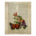 Butterfly floral art on vintage dictionary page print