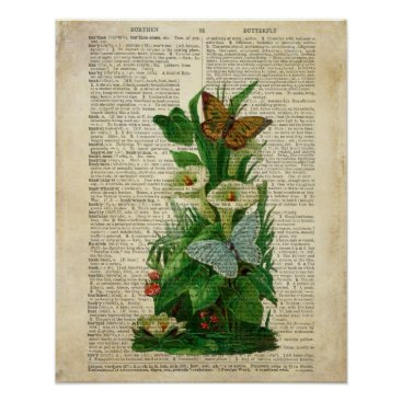 terrymcclaryart Butterfly floral art on vintage dictionary page poster