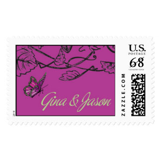 Butterfly Floral Border Postage Stamp