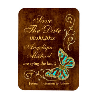 Butterfly floral brown aqua gold rectangular photo magnet