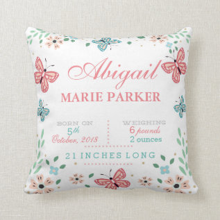 Butterfly Floral Garden Baby Stats Pillow at Zazzle