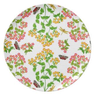 Butterfly Floral Garden Plate