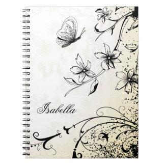 Butterfly Floral Garden Sketch Spiral Notebook