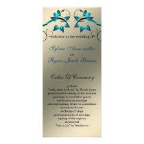 butterfly floral ivory aqua  Wedding program