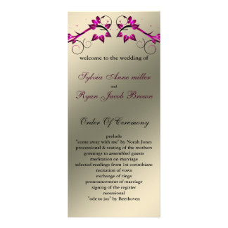 butterfly floral ivory pink Wedding program