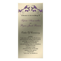 butterfly floral ivory purple Wedding program