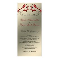 butterfly floral ivory red   Wedding program