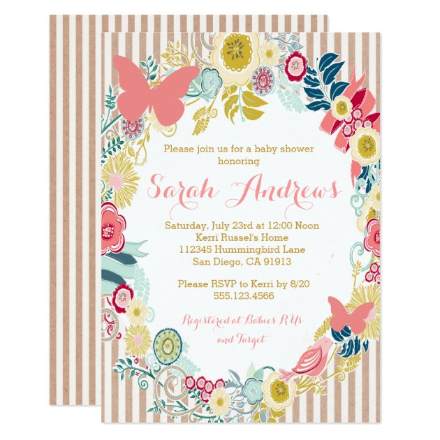 butterfly floral pink baby shower girl invitation | zazzle, Baby shower invitations