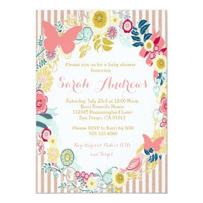 floral butterflies girls baby shower invitation | zazzle, Baby shower invitations