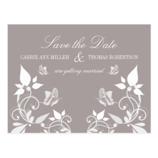 Butterfly Floral Save the Date Postcard, Ivory Postcard