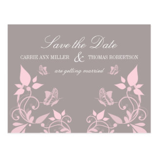 Butterfly Floral Save the Date Postcard, Pink Postcard