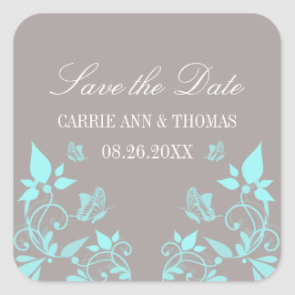Butterfly Floral Save the Date Stickers, Aqua Square Sticker