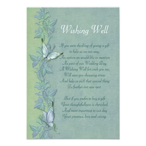 Butterfly Floral Wedding - Wishing Well Enclosure Custom Invites