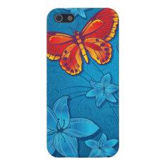 Butterfly Flourish Blue iPhone SE/5/5s Case at Zazzle
