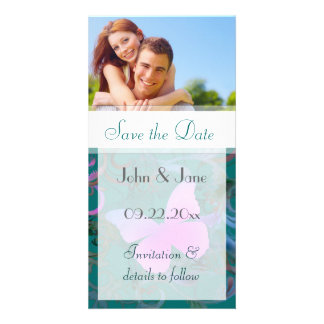 """Butterfly Flourish/photo  """"Save the Date"""" Photo Card"""