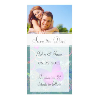 """Butterfly Flourish/photo  """"Save the Date"""" Photo Card Template"""