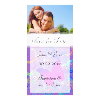 """Butterfly Flourish/photo  """"Save the Date"""" Picture Card"""