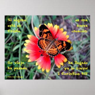 Butterfly Flower—2 Corintios 5:17 Poster
