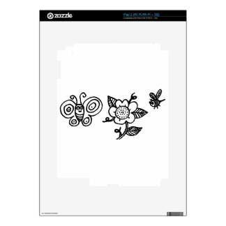 Butterfly Flower and a Bee Decal For The iPad 2