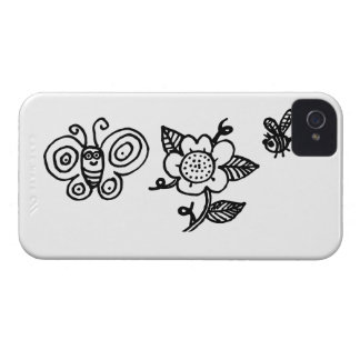 Butterfly Flower and a Bee iPhone 4 Cover