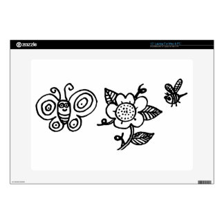 Butterfly Flower and a Bee Laptop Decal