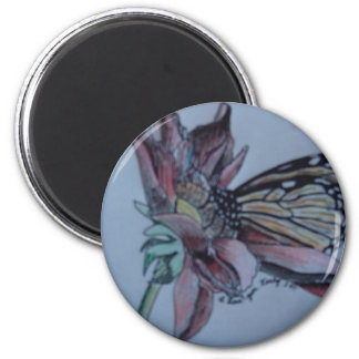 Butterfly Flower Art Nature Drawing Colin Peek 2 Inch Round Magnet