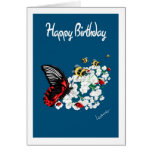 Butterfly flower Birthday Card - Add own greeting