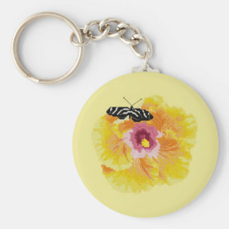 Butterfly Flower Cross Stitch Basic Round Button Keychain