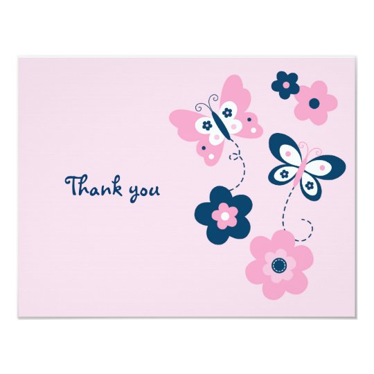 Butterfly Flower Flat Thank You Note Cards
