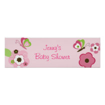 Butterfly Flower Garden Baby Shower Banner Sign Poster
