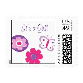 Butterfly Flower It s a Girl Postage Stamps