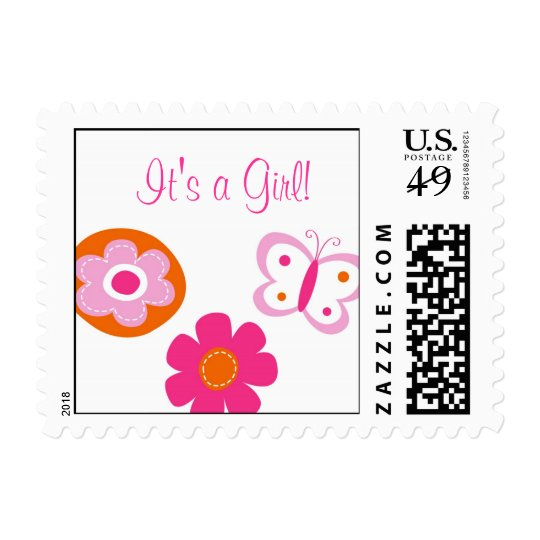 Butterfly Flower It's a Girl Postage Stamps