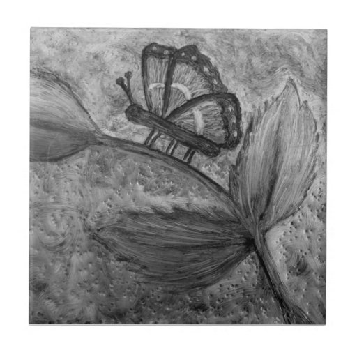 Butterfly Flower Painting Tile Triver Coaster BW