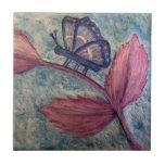 Butterfly Flower Painting Tile Trivet Coaster