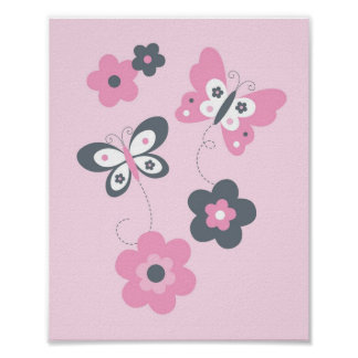 Butterfly Flower Pink Grey Nursery Wall Print