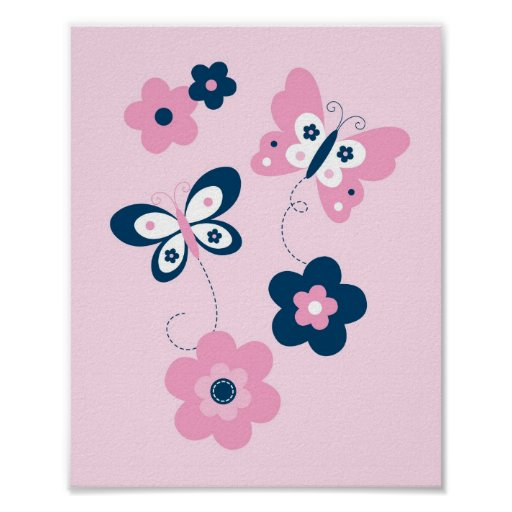 Butterfly Flower Pink Navy Nursery Wall Print