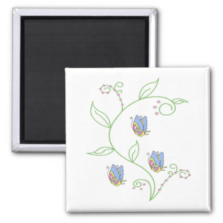 Butterfly flower swirl 2 inch square magnet
