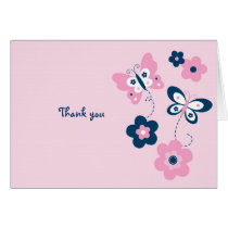 Butterfly Flower Thank You Note Cards