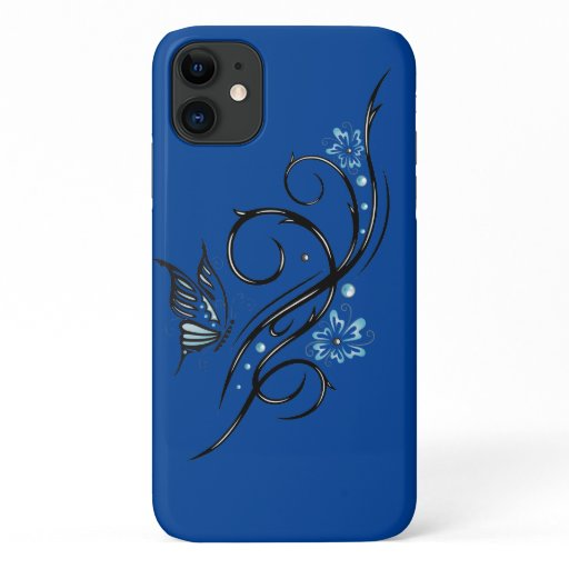 Butterfly flower tribal cool blue art flowers outd iPhone 11 case