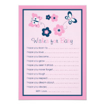 Butterfly Flower  Wishes for Baby Advice Cards