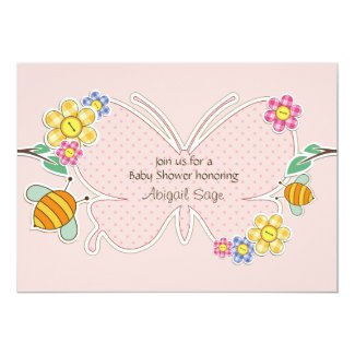 Butterfly, Flowers and Bees Baby Shower Invitation