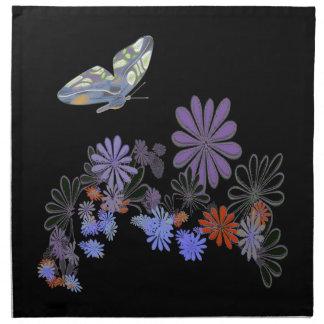 Butterfly,Flowers, Black American MoJo Napkin