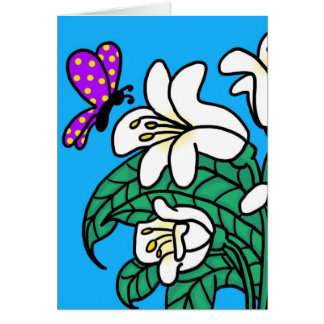 Butterfly flowers Blank Greeting Card