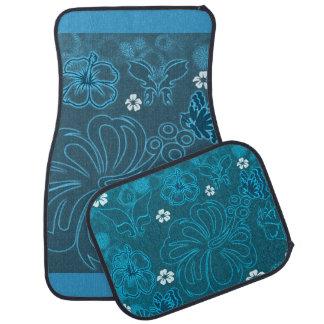 Butterfly Flowers Blue Pastels Car Floor Mat