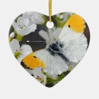 Butterfly & Flowers Ceramic Ornament
