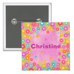 Butterfly flowers customizable name badges pinback buttons