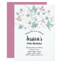 butterfly, flowers , flora  birthday invitation