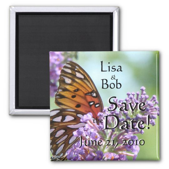 Butterfly Flowers Floral Save the Date Magnet
